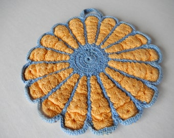 Vintage Hot Pad Pot Holders Chic Shabby Blue and Yellow Cottage Style Farmhouse Kitchen Decor Perch and Patina