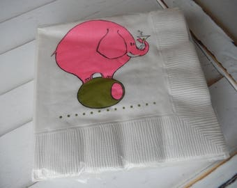 Cocktail Napkins Vintage Retro Pink Elephant Olive Party Supplies Decor