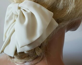 Big Bow,  large hair bow,  ivory  hair accessory, dress bow, communion bow, large dress bows, pew bows, decoration, decor, bridal, wedding
