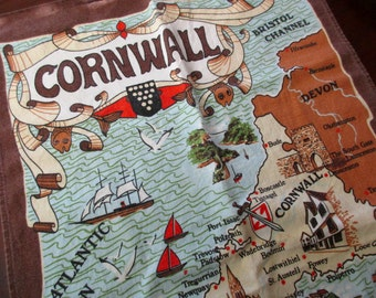 Vintage Cotton DISH TOWEL - Cornwall, Britain, map, Poldark