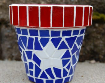 Planter Pot  Mosaic Americana Red, White, Blue Stained Glass