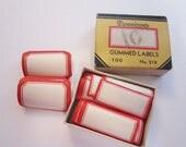 123 vintage DENNISON labels - self gummed - red and white - 2 sizes