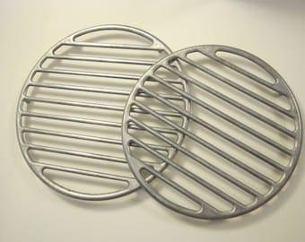 2 vintage broil racks - cast aluminum - L. E. Mason C - trivets - industrial kitchen decor