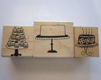3 rubber stamps - CAKES and CUPCAKES - Savvy Stamps - used rubber stamps
