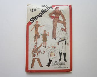 vintage costume pattern - The LONE RANGER, tonto, Silver, and Scout costumes - Simplicity 5298  size 6-8 boys and girls - circa 1981 - UNCUT
