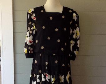 Vintage 1970s Black Floral Blouson Dress/ Sheer Sleeves and Skirt / Pulls Over Head