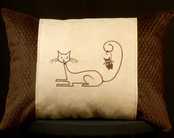 New Brown & Off-White Siamese Cat Accent Pillow New 12 x 16 Insert — Item 258