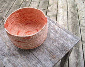 Rope Basket - Rope Pot - Orange Rope Bowl - Coiled Rope Basket - Medium Cotton Rope Bowl