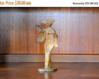 SALE 25% OFF vintage mid-century modern cast metal geisha figurine
