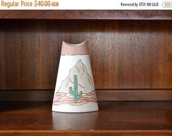 SALE 25% OFF vintage pink and gold ceramic cactus vase