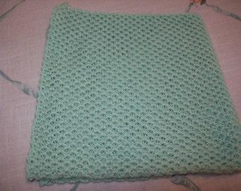 Handmade Knitted Mint Green Dishcloths, Mint Green Washcloths, 100% Cotton Dishcloths, Lightweight Dishcloths