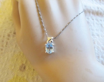 Sterling Silver Blue Topaz Pendant and Sterling Silver Chain Necklace