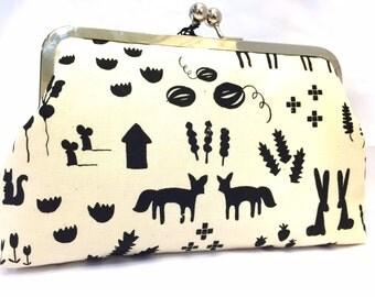 clutch purse - printshop  - 8 inch metal frame clutch purse - large purse- fox - black - natural - animals kisslock - clutch bag
