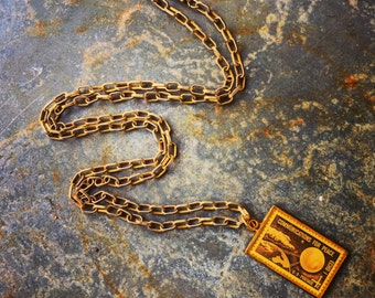 """Necklace/ United States Postage Stamp Pendant / 4 Cent Stamp / Echo 1 / Assemblage and Jewelry / Solid Brass / 40"""" Chain"""