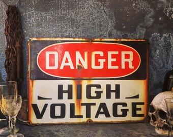 """Porcelain High Voltage Sign / 20"""" X 14"""""""
