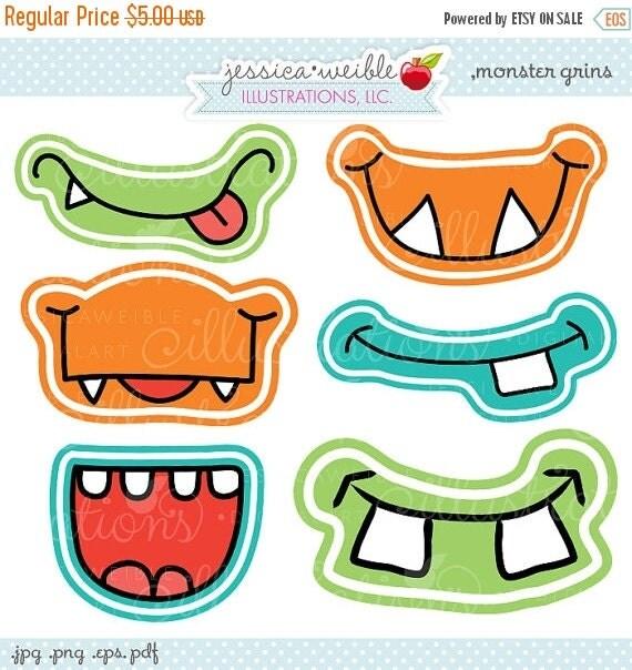 ON SALE Monster Grins Cute Printable Birthday Party Favors - Printable Monster Smiles, Monster Faces