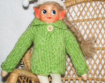 Elf Sweater - Hand Knit - in Lime Green Wool - RTG