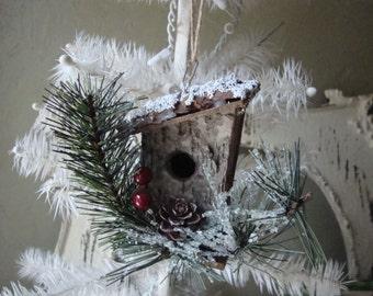 Rustic Christmas ornament birchwood mini birdhouse decor woodland christmas wood ornament country cottage Chic decor natural home decor
