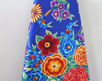 Ironing Board Cover - bright red blue yellow flowers on a deep blue purple background