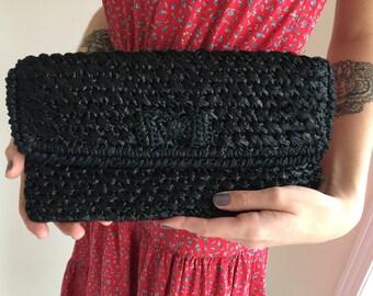 vintage straw clutch /black / 1960s 60s /raffia straw purse /black handbag / retro boho evening bag made in japan