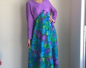 vintage 60s dress lilac lavender maxi dress 1960s purple floral boho hippy hippie long sleeve hostess size large