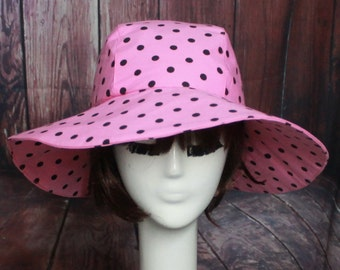 Sun Hat Polka Dots, Hot Pink Wide Brim Hat, Floppy Hat,  Travel Hat, Packable Hat, Black and White Sun Hat
