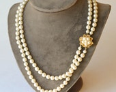 Faux Pearl Necklace Double Strand Necklace