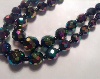 Carnival Glass Necklace, Vintage Necklace, Double Strand Necklace, Bead Necklace