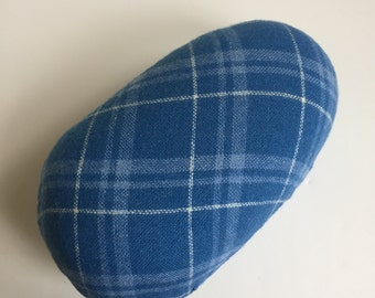 Vintage scottish blue plaid Sewing HAM for ironing curved seams. Handy garment pressing aid. Firm - filled with sawdust