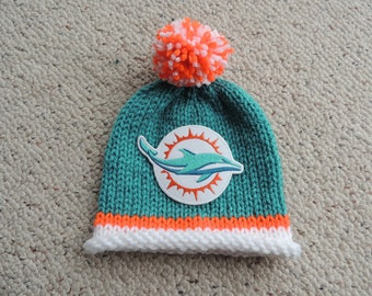 MIAMI DOLPHINS Baby Hat, Football Baby Hat, Hand Knitted Baby Hat, Florida Baby Hat, Baby Hat, Dolphins, Florida, Miami, Dolphins Baby