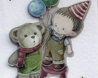 "Hand Crafted 3D Decoupage Card, Happy Birthday (2093) ""Teddy Bear"" Birthday Card, Boyfriend Card, Brother Card, Layered Card"