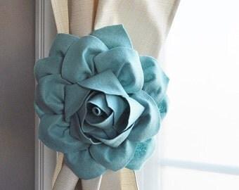 SALE Dahlia Curtain Flower Tie Backs Curtain Tiebacks Curtain Holdback -Drapery Tieback Set of TWO -Baby Nursery Decor-Teal Dusty Blue Decor