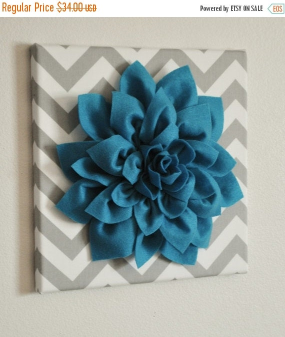 "SALE Wall Flower - Dark Turquoise Dahlia on Gray and White Chevron 12 x12"" Canvas Wall Art- 3D Felt Flower"