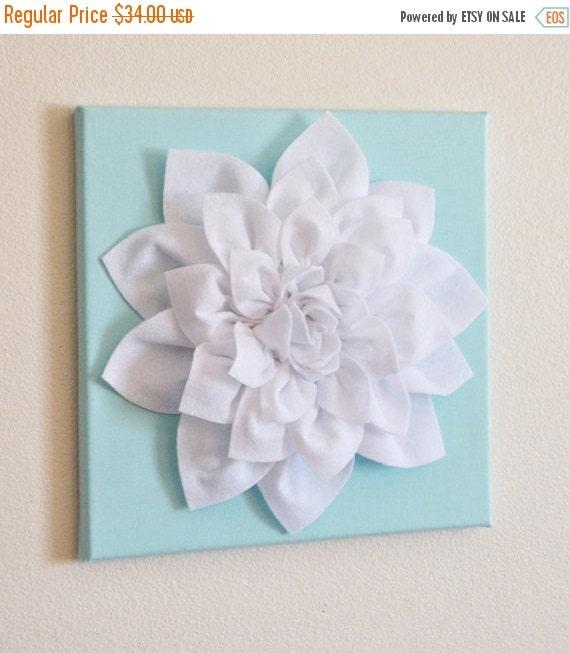 "SALE Wall Flower -White Dahlia on Aqua 12 x12"" Canvas Wall Art- 3D Felt Flower"