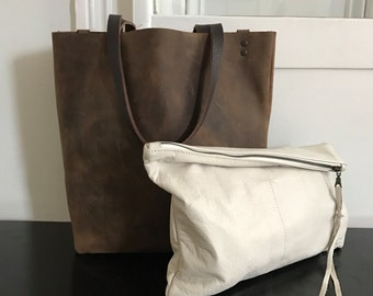brown leather tote. White Leather Clutch - Extra Large Leather Clutch - Ipad Clutch - leather Carryall tote