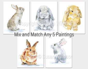 Watercolor Animal Art Prints - Set of 5 - Mix and Match Paintings - Nursery Art