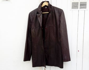 Brown Leather Coat Vintage  Women's Genuine Leather .
