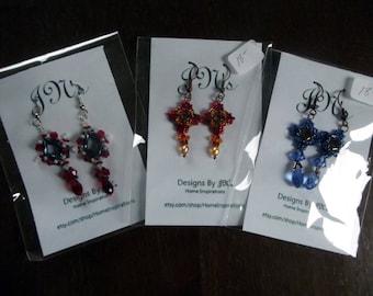 Sparkling Star Burst Earrings, Red White and Blues Star burst Earrings, Shiny Dangling earrings, Blue and Bronze Beaded Earrings,