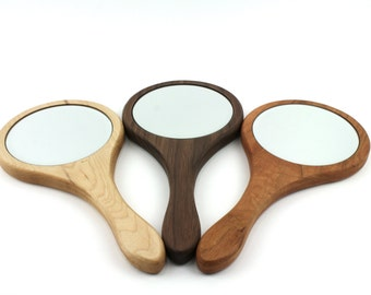 Wooden Hand Mirror,Cherry Hand Mirror with Beveled Glass, Maple Handheld Mirror, Wooden Walnut Mirror