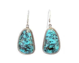 CHINESE TURQUOISE EARRINGS #8 Blue New World Gems