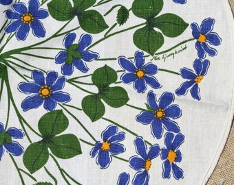 Vintage Scandinavian Round Table Cloth Blue Flowers by Mia Ljungkvist