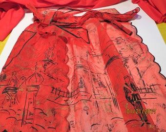 1950's Hostess Apron Red Sheer Paris Motif