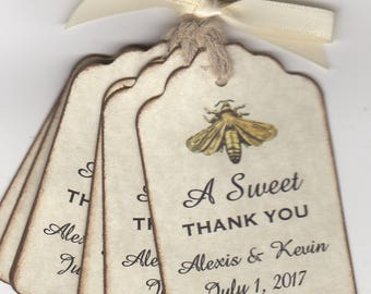 Wedding Favor Gift Tags For Place Cards Escort Tags Thank You Tags Shower Tags, A SWEET THANK YOU Honey Jar Labels - Rustic Vintage Style