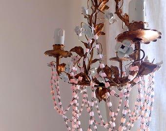 Gorgeous petit tole flowers Venetian chandelier, 40s Italian vintage with pink opaline glass chains