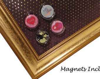 Magnet Board - Dry Erase Board  - Makeup Board - Magnetic Memo Board - Organizer - Count Your Blessings Gold Dot Design - Magnets Included