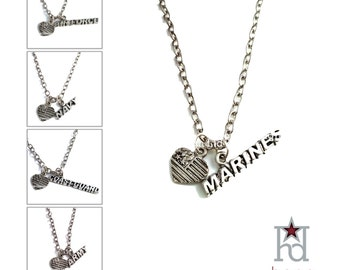 Military Branch and US Flag Heart on 24-inch Gunmetal Necklace /12516A/12616N/12716M/12816AF/12916CG