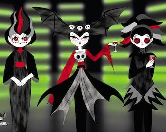Vampire party cute vampire girls Print 4x6