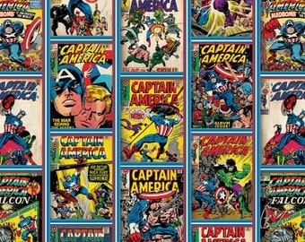 Captain America from Marvel for Camelot Cottons - Full or Half Yard Comic Fabric