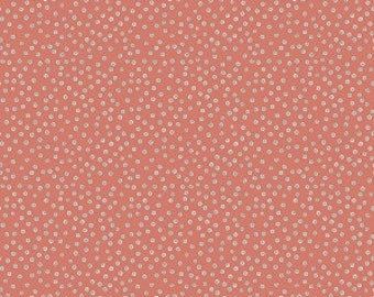 Coffee Break from Riley Blake - Full or Half Yard Coffee Dot Coral - Blue and White Dots on Coral