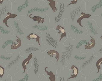 Down by the River from Lewis and Irene - Full or Half Yard Playful Otters on Dark Pebble - Otter Fabric
